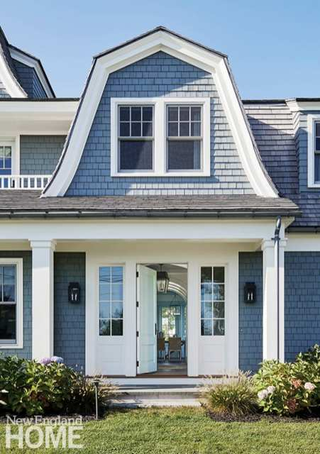 Blue shingle style home