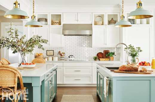 White kitchen with two light blue kitchen islands