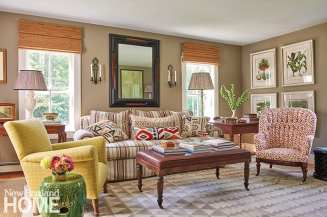 Vermont living room with a variety of patterns