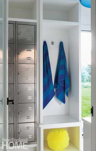 Rows of lockers by SchoolLockers.com offer plenty of storage for the family and their guests to stow everything from flip-flops to sunscreen.
