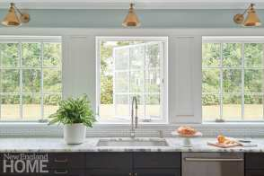 Kitchen sink with a wall of windows