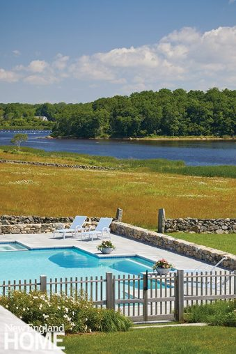 Since all eyes are really trained on the adjacent brackish marsh, architect Neil Hauck sensitively framed the unique cruciform-shaped pool in Phoenicia Buff granite. As a further nod to its surroundings, landscape architect Martha Moore lined the fence with ornamental grasses and rugosa roses that love being tussled by the wind.