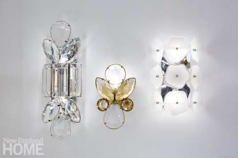 The Lloyd Large and Small Jeweled sconces and the Leighton Small Sconce, all by Kate Spade New York, are reminiscent of women's jewelry.