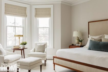 "Calm by Benjamin Moore sets the tone in the main bedroom for ""a serene place to go at night,"" says Goldberg."