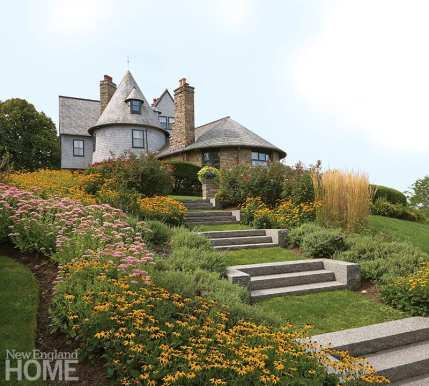 Terraced manicured gardens lead to Edgehill, one of Newport's most notable summer cottages. The private estate was designed by McKim, Mead & White in the 1880s.