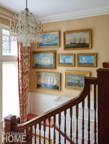 In the stairwell, most of the paintings are by artist Antonio Jacobsen, who worked in the late-nineteenth and early-twentieth centuries. The unique chandelier, a family heirloom, originally came from Mallett in London.
