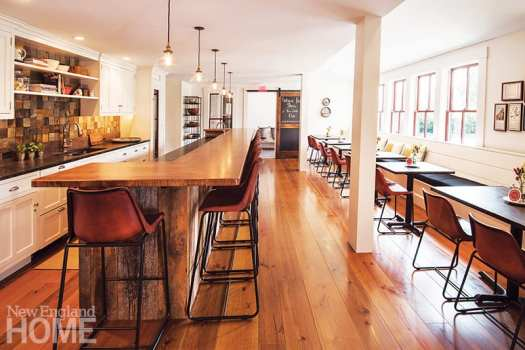 . Crown Point Cabinetry created the cabinets in the kitchen; Carlisle Wide Plank Floors laid flooring throughout the inn.