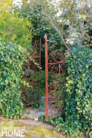 Red iron garden gate