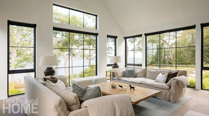 White living room with coastal view