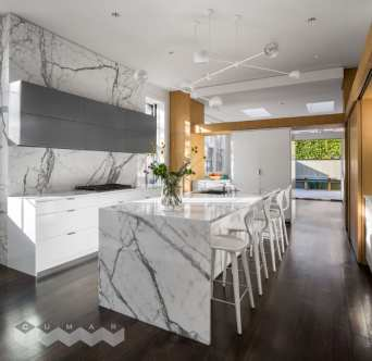 Countertop: Statuario Marble. Design By: Stern McCafferty Architecture and Interiors. Builder: Thoughtforms. Photography: Trent Bell.