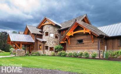 Douglas fir, stone harvested from the site, and rough-sawn-wood siding comprise the exterior.