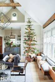 In the family room, a mix of sheepskins and reindeer skins cover the window seat and B&B Italia sofa; they also act as a skirt for a Christmas tree decorated in heart ornaments collected from Switzerland, Germany, and Austria.