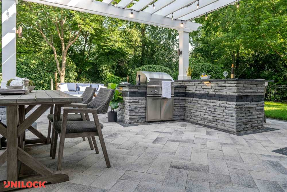 Gourmet outdoor kitchen with gray stone work