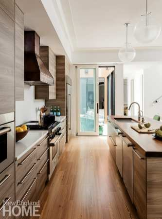 Contemporary Boston kitchen with Elm cabinetry