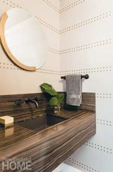 Powder room with Phillip Jeffries studded wall covering