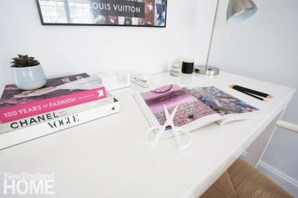 White desk with colorful open book