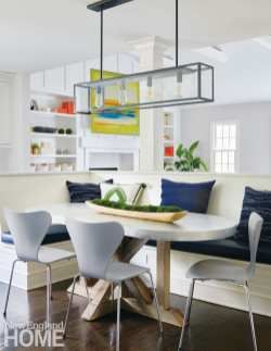 Oval table and banquette