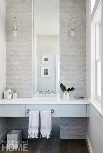 White powder room with concrete tiles by Artistic Tile.