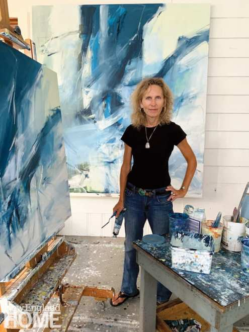 Artist Emilia Dubicki in her Morris Cove studio