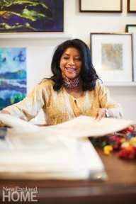 Sayeed says her bright and spacious Newton studio provides inspiration for all of her work, whether she's printing, painting, designing rugs, or creating fresh home interiors for clients.