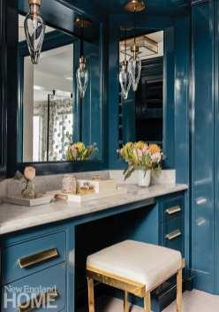 Bathroom dressing area in Benjamin Moore's Gentleman's Gray
