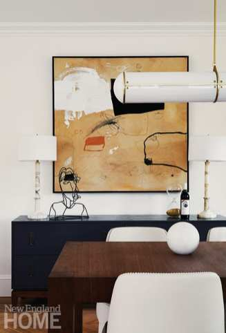 Dining room console with artwork by WIlliam McLure.