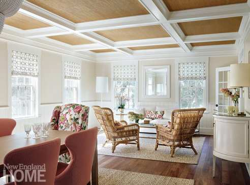 Great room with coffered ceiling