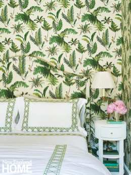 Bedroom with fern wall paper