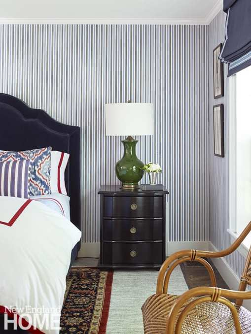 Boys bedroom with striped wallpaper.