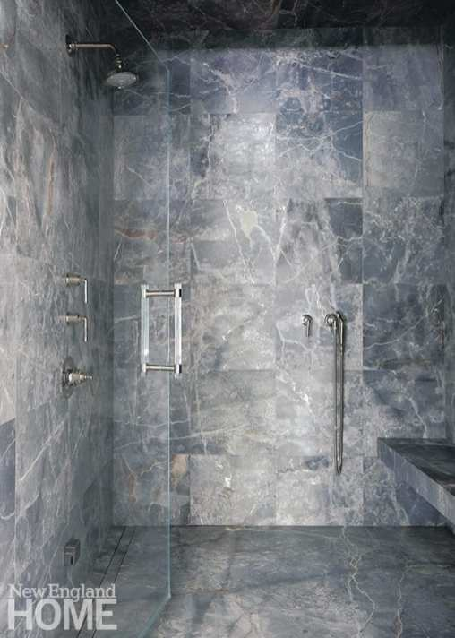 Large marble shower