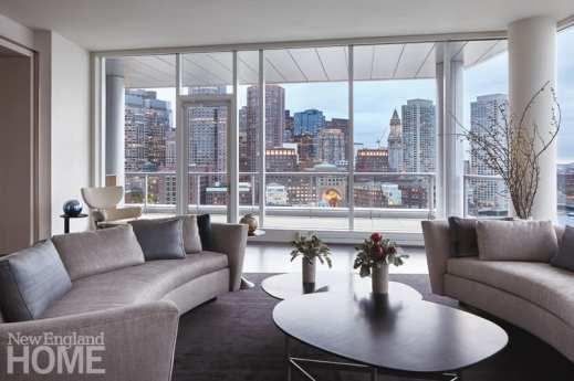 Contemporary Boston condo with city views.