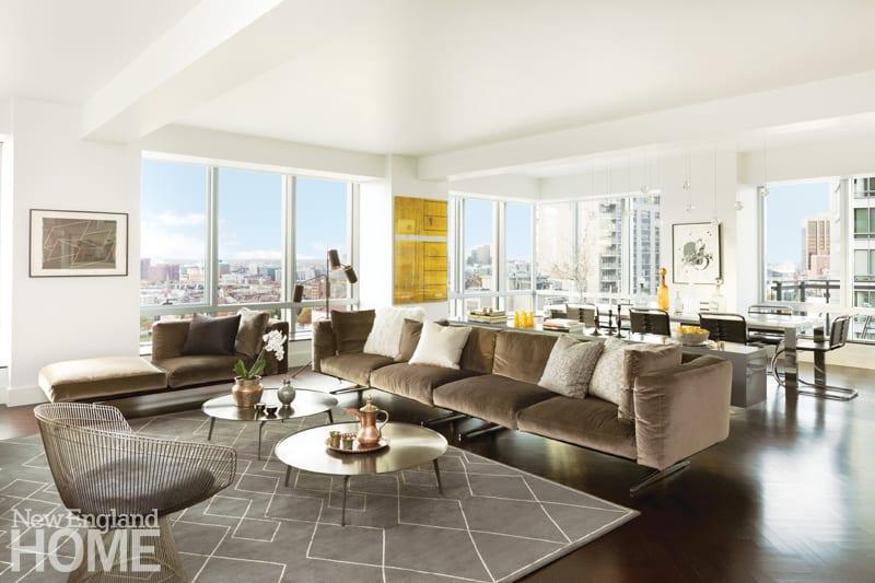Contemporary Boston condominium with neutral furnishings.