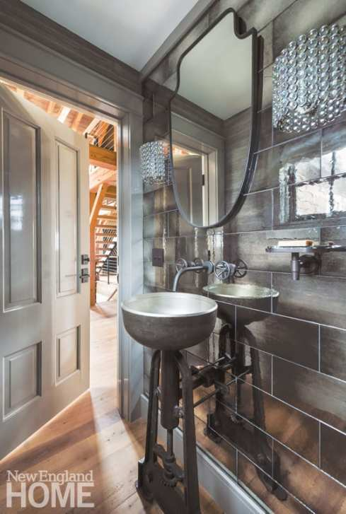 Steampunk-style powder room