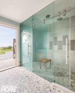 Large shower with access. to deck.