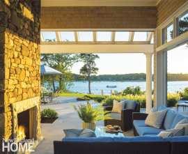 Cape Cod outdoor fireplace.