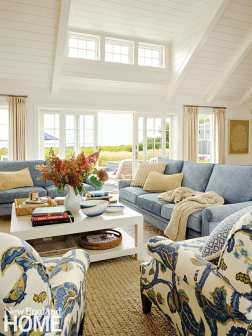 Seating area with light blue couches and large white coffee table.