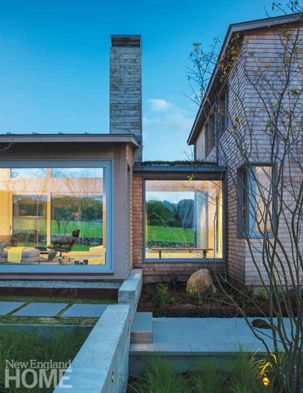 Breezeway of contemporary Rhode Island house