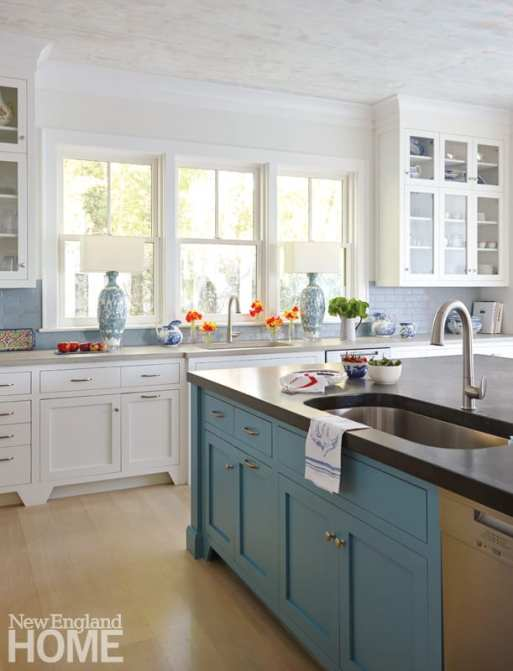 """White rebuilt her former Edgartown kitchen, changing the color palette and orientating it to the view: """"We didn't have to figure out where to put the silverware,"""" she says."""