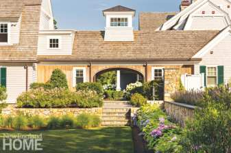 """Coutu's team planted an abundance of hydrangeas and roses in what he refers to as """"Cape Cod summer colors."""""""