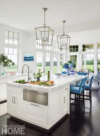 White kitchen with blue stools