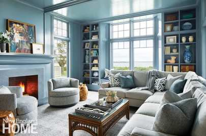 Living room painted a glossy blue.