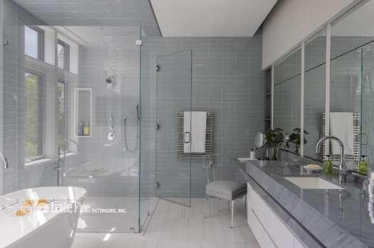 Leslie Fine gray and white luxury bathroom