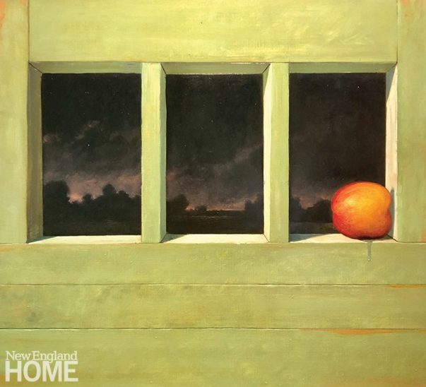 """The Overripe Peach Looked Wistfully Toward the City and Beyond Knowing Its Best Days had Passed, 20""""H x 22""""W, oil on panel, 2020."""