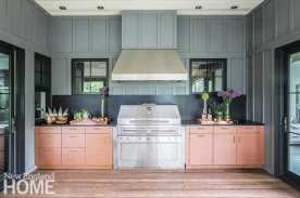 Outdoor pink and gray kitchen.