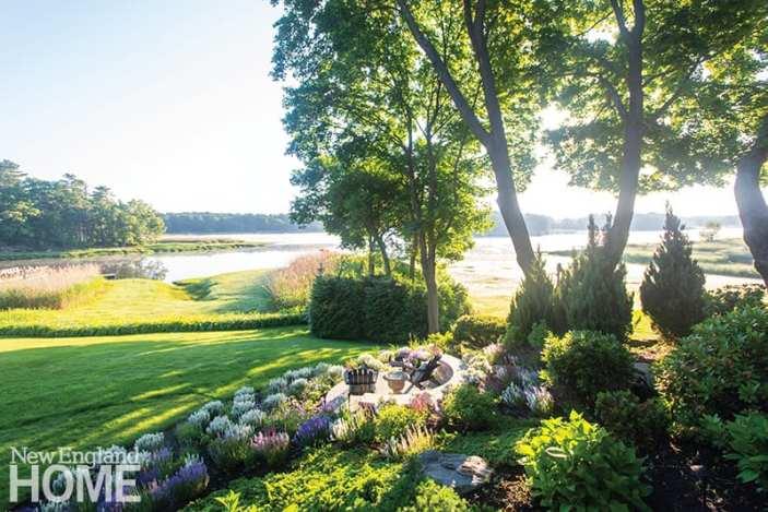 Coastal view and perennial garden