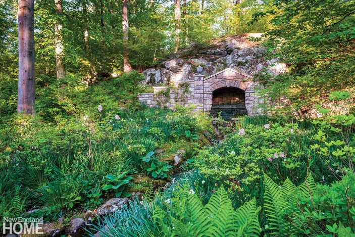 A visit to Rousham House in Oxfordshire inspired the grottos that are tucked romantically into the woodlands, while azaleas, bulbs, and wildflowers follow a babbling brook