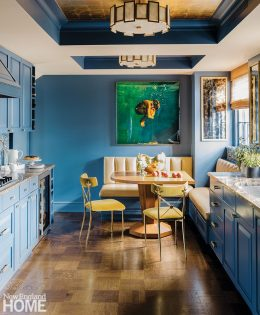 Boston kitchen with blue cabinetry.
