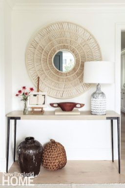 Console with a a mix of neutral accessories/