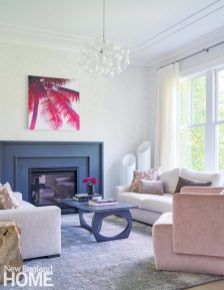Living room with contemporary fireplace