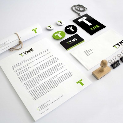 Branding design for print graphics.